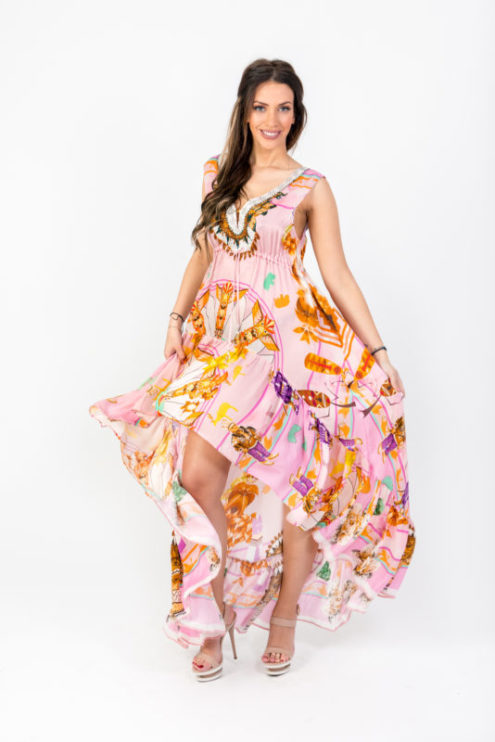 Life circle Hi Low dress pink φόρεμα